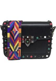 Bolsa Casual Transversal Alça Colorida Sys Fashion 830302 Preto