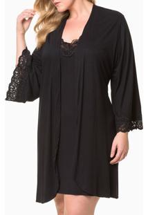 Pijama Feminino Kimono De Renda Plus Size Preto Calvin Klein - 3Xl