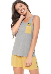 Pijama Hering Estampado Cinza/Amarelo