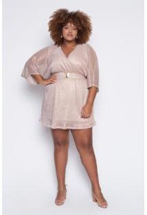 Vestido Almaria Plus Size Lady More Tule Lurex Feminino - Feminino-Nude