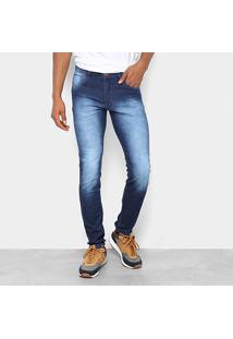 Calça Jeans Skinny Coffee Estonada Cintura Média Masculina - Masculino