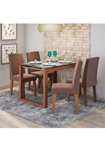 Conjunto De Mesa De Jantar Retangular Anita Com 4 Cadeiras Milena Suede Chocolate E Savana