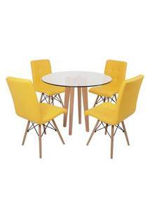 Conjunto Mesa De Jantar Em Vidro 90Cm Com Base Vértice + 4 Cadeiras Gomos - Amarelo