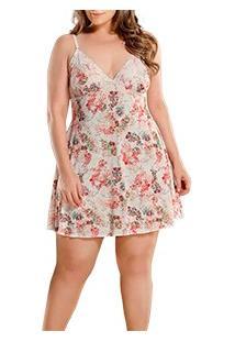 Camisola Floral Decote Em Renda Paulienne (9177-0) Plus Size