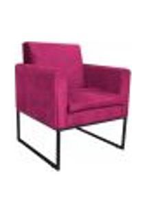 Poltrona Bella Base De Ferro Preta Suede Pink - Amarena Móveis