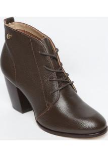 Ankle Boot Em Couro Com Amarração - Marrom Escuro - Jorge Bischoff