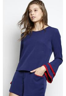 Blusa Lisa Manga Sino- Azul Marinho & Vermelha- Dbz Dbz Jeans