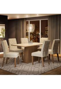 Conjunto Sala De Jantar Madesa Daniela Mesa Tampo De Madeira Com 6 Cadeiras Marrom - Tricae
