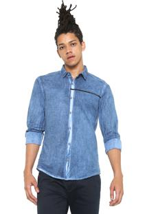 Camisa Jeans Calvin Klein Jeans Reta Logo Azul