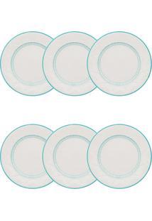 Conjunto 6 Pratos Sobremesa Oxford Sky Cerâmica 20Cm Azul/Marfim