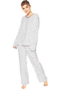 Pijama Any Any Soft Dots Lana Branco/Azul