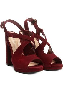 Sandália Couro Shoestock Salto Grosso Vazada Feminina - Feminino-Bordô
