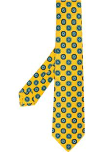 Kiton Gravata Com Estmpa - Amarelo