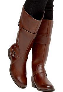 Bota Couro Montaria Shoestock Cobra Feminina - Feminino-Marrom