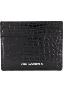 Karl Lagerfeld Clutch K/Karl Seven Com Efeito Pele De Crocodilo - Preto