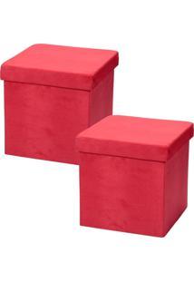 Puffs Lyam Decor Desmontável Vermelho - Tricae