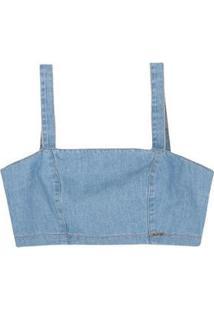 Top Jeans Hering Com Alças Largas Feminino - Feminino-Azul