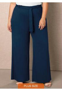 Calça Azul Marinho Pantalona Em Viscose