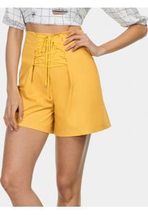 Shorts Amarração Tecido Tricoline Amarelo Gamuza - Lez A Lez