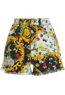 Versace Jeans Couture Bermuda Com Estampa Barroca - Preto