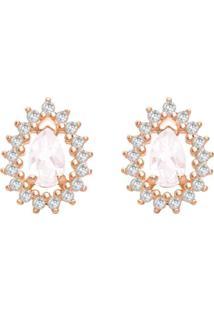 Brinco Ouro Rosé Quartzo Rosa E Diamantes
