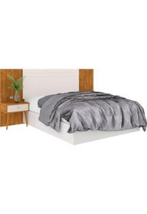 Cabeceira Box De Casal Extensível 100% Mdf Toscana 1,40X1,60 Nature Off White Madeirado Robel Móveis