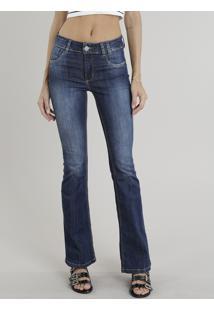 ... Calça Jeans Feminina Flare Sawary Azul Escuro e22cc111cdd18