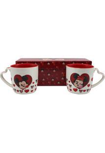 Kit C/2 Canecas Alça Coração Mickey E Minnie - Zona Criativa