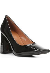 Scarpin Shoestock Bico Quadrado Salto Bloco Alto - Feminino-Preto