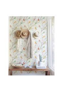 Papel De Parede Stickdecor Adesivo Floral Com Passarinhos 100Cm L X 300Cm A