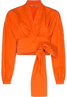 Three Graces Blusa Envelope Greta Com Decote V Profundo - Laranja