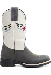 Bota Texana Fossil Branca Com Cruz Vermelha 09367 - Masculino-Chumbo+Branco