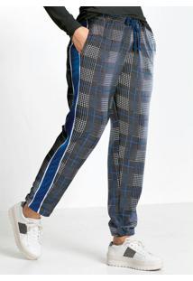 Calça Com Faixa Lateral Xadrez Azul