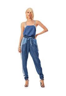 Blusa Decote Quadrado Alca Bicolor Jeans