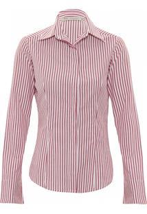 Camisa Kika Simonsen Listrada Vermelha/Branca