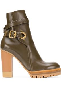 See By Chloé Ankle Boot Plataforma De Couro - Green
