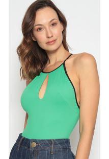 Body Com Vazado - Verde & Preto- Lança Perfumelança Perfume