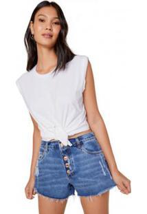 Camiseta Amaro Cropped Nó - Feminino