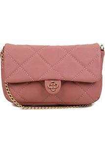 Bolsa Couro Capodarte Mini Bag Matelassê Alça Corrente Feminina - Feminino-Rosa