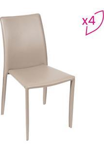 Jogo De Cadeiras De Jantar Glam- Bege- 4Pã§S- Or Or Design