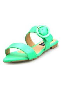 Sandalia Love Shoes Rasteira Bico Folha Básica Fivela Abs Neon Verde