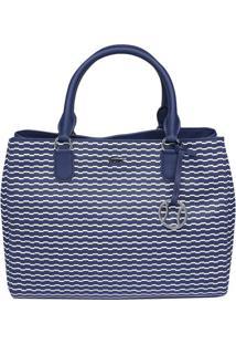 Bolsa Geométrica Com Tag - Azul Marinho & Branca - 4Lacoste