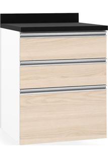Balcão De Cozinha, 3 Gavetas, P60, Branco Fosco Com Vanilla, Touch