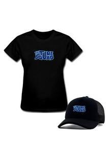 Camiseta T-Shirt Feminina E Boné Aba Curva Trucker Personalizado Tunes Squad - Preto