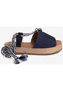 Sandália Inbox Flatform Cordão Jeans Feminina - Feminino-Azul