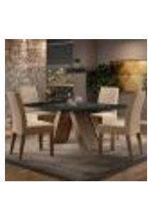 Sala De Jantar Madesa Dandara Mesa Tampo De Vidro Com 4 Cadeiras - Rustic/Preto/Imperial