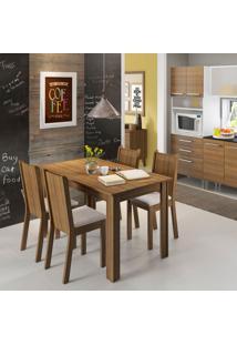 Conjunto De Mesa De Jantar Com 4 Cadeiras Rosie Linho Rustic E Pérola
