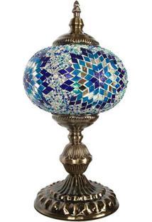 Abajur Mosaico Estilo Turco Azul 38Cm