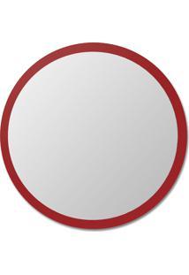 Espelho De Parede Redondo Edge - 90 Borda Vermelha Vidrotec