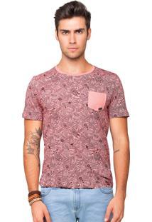 Camiseta Tony Menswear Estampada Com Bolso Rosa